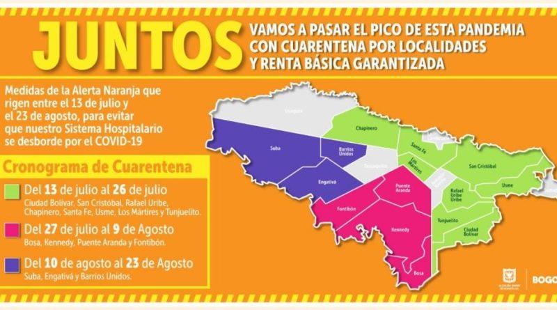 Bogotá cerrará progresivamente las localidades de a cuatro grupos durante 14 días