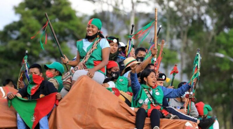 Recorrido de la minga indígena en su llegada a la ciudad de Bogotá